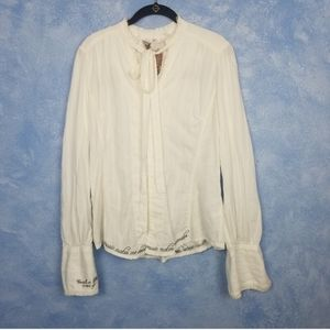"3J Johnny Was White Button Down ""Music"" Top Large"